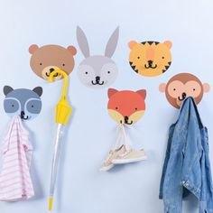 Help make a routine task fun. Kids can't resist hanging coats and bags on these adorable animal coat hooks. Banish floor mess forever and quickly put an end to clutter. Included is 6 animal faces: be. Baby Room Decor, Nursery Decor, Kids Coat Hooks, Handmade Crafts, Diy And Crafts, Decoration Creche, Clay Art Projects, Kids Coats, Art Wall Kids