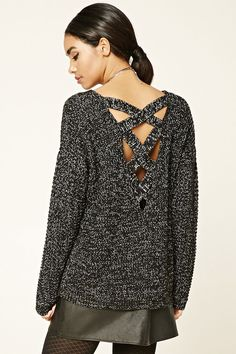 Style Deals - A chunky knit sweater featuring a boxy silhouette, crisscross cutout back, a round neckline, long sleeves, and ribbed trim.