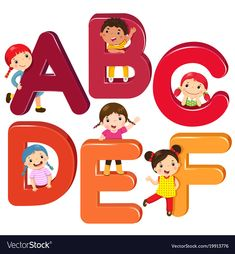 Illustration of Cartoon kids with ABCDEF letters vector art, clipart and stock vectors. School Painting, Painting For Kids, Alphabet Activities, Preschool Activities, School Clipart, Letter Vector, Picture Letters, Class Decoration, Cartoon Kids