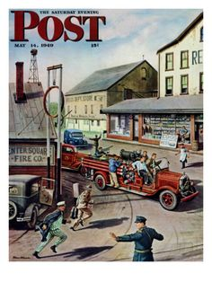 Small Town Fire Company, Saturday Evening Post Cover, May 1949 Giclee Print by Stevan Dohanos Old Magazines, Vintage Magazines, Saturday Evening Post, Winter Scenery, Norman Rockwell, Small Towns, Illustrators, Giclee Print, Maya