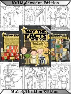 MULTIPLICATION STAR WARS MATH: May The Facts Be With You ~ 6 Color By The Code Math Puzzle Printables! Use the children's love of Star Wars to practice multiplication facts. This set includes 6 puzzles and each printable has the CCSS listed in the corner. Set also includes 6 answer keys. $