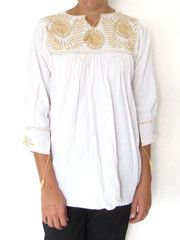 Hand Embroidered Margarita Blouse Gold   Blusa Margarita Oro