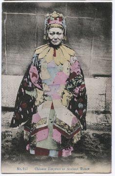 c.1910 CHINA HONG KONG POSTCARD - CHINESE EMPRESS AT ANCIENT TIMES