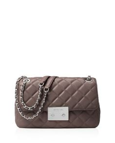 MICHAEL MICHAEL KORS Large Sloan Chain Shoulder Bag. #michaelmichaelkors #bags #shoulder bags #leather #polyester #lining #