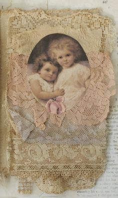 Mixed Media Fabric Collage Book of Lavender and Old Lace . Beautiful !!