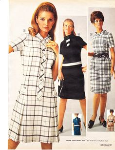 77f34dcc9ee Black and white dresses. Plaid. 70s Fashion