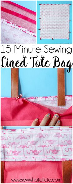 How to Make a Tote Bag: This installment of the 15 minute sewing series has us creating an easy lined tote bag. This is a great beginner sewing project. Newbies will learn to create an easy tote pattern. Click through for the full tutorial. #sewing #sew #15minutesewing | www.seewwhatalicia.com