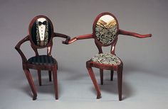 """Dancing Chairs Sculpture ~ a pair of fox-trotting Art Deco-styled dancing chairs, decked out in tuxedo and ball gown"" Unusual Furniture, Funky Furniture, Furniture Design, Do It Yourself Furniture, Cafe Chairs, Room Chairs, High Chairs, Lounge Chairs, Take A Seat"