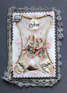 alter Taufbrief von 1897 Spitze, Golddruck, Engel