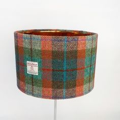 Harris Tweed large drum lampshade brick red turquoise green fabric lamp shade £45.00 Pink Turquoise, Turquoise Stone, Pink Lamp Shade, Fabric Lampshade, Check Fabric, Harris Tweed, Wool Fabric, Green Fabric, Lamp Bases
