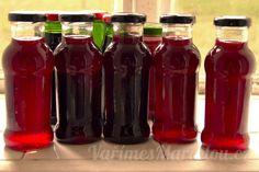 Recept na ostružinovou (malinovou, rybízovou) šťávu – ostružinový sirup Bottles And Jars, Mason Jars, Kimchi, Pickles, Smoothies, Salsa, Canning, Drinks, Health