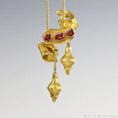 Victorian Necklace - 1850s Slider Antique Necklace 18k Gold Almandine Garnets Repoussé, Lariat Necklace, Antique Jewelry, Victorian Jewelry by HeartofHeartsJewels on Etsy