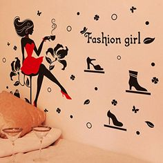 Fashion Girl Bags Flowers Butterflies Wall Decal Home Sticker PVC Murals Vinyl Paper House Decoration Wallpaper Living Room Bedroom Kitchen Art Picture DIY for Children Teen Senior Adult Nursery Baby * Want additional info? Click on the image.