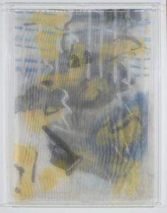 STRAUSS BOURQUE-LAFRANCE   Gods, 2014   Plexiglas, polyethylene mesh, screen, adhesive, spray enamel   40x30x2 in
