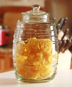 This Sedona Canister by Circle Glass is perfect! Kitchen Storage Containers, Glass Storage Jars, Glass Canisters, Kitchen Canisters, Jar Storage, Food Storage, Kitchen Cabinets, Kitchen Supplies, Serving Dishes