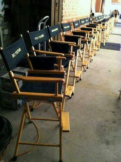 On set of glee cast chairs look cory and Lea's chairs still next to each other