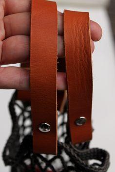 Netz mit Lederhenkeln, ledergriffe, lederhenkel, einkaufsnetz leder