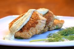 Wild Salmon Cakes with Dill Sauce - The Whole Kitchen -- made these with tuna and coconut flour...delicious!