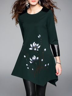 Shop Tunics - Green Printed Long Sleeve Tunic online. Discover unique designers fashion at StyleWe.com.