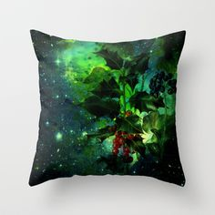 holly Throw Pillow by clemm - $20.00 #holly,#Christmas,#galaxy,#green