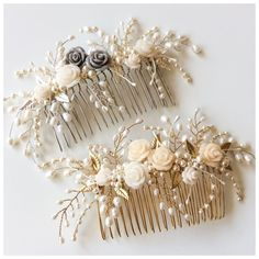 Tiny Rose, Gilded Leaf and Pearl Bridal hair comb