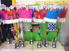 Each pupil grew his own beanstalk. Then they cut out the sahape of a castle- coloured it, added cotton for the clouds. They also cut out the characters puppets from the story. I took a picture of each of them so that they could pretend being the hero of the story (rather than Jack). Looks great!!
