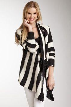 Dex Stripe Wrap Cardi Sweater