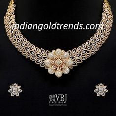 Latest Indian Gold and Diamond Jewellery Designs: Floral Diamond Necklace