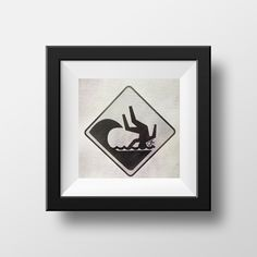 Surf Sign Photography, Funny, Fine Art Print, Home Decor, Street Sign, Dangerous Surf, Black + White