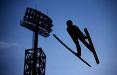 SOCHI, RUSSIA - FEBRUARY 08: Taylor Henrich of Canada jumps during the Ladies' Normal Hill Individual Ski Jumping training on day 1 of the Sochi 2014 Winter Olympics at the RusSki Gorki Ski Jumping Center on February 8, 2014 in Sochi, Russia. (Photo by Lars Baron/Getty Images)