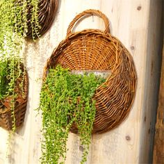 Wicker Brown Wood Wall Hanging Pocket Basket Flat Back Door Decor Country Decor