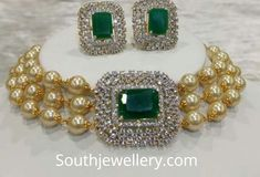 Royalty redefined with this choker neckpiece of south sea pearls, emeralds and diamonds Indian Jewelry Sets, Indian Wedding Jewelry, Bridal Jewelry, Beaded Jewelry, Gold Jewelry, Jewelery, Pearl Jewelry, Pearl Choker Necklace, Diamond Choker