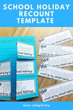 A fun and structured recount template for kids to write about their school holiday news. Kids write 3 paragraphs and cut their page to create flaps. Make it fun by NOT adding labels to the flaps and have other students guess if the event was happiest, coolest etc.  #TeachersPayTeachers #writing #primaryschool #funatschool