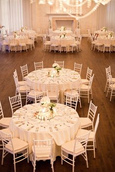this is the size of the tables and the number of chairs. I will be using white table linens...