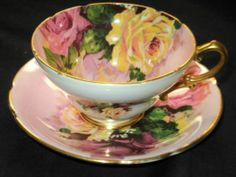 STANLEY ONE SET EXQUISITE COLOR ROSES WIDE TEA CUP AND SAUCER