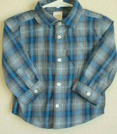 Gymboree Baby Boy Long Sleeves Blue& Gray Cotton Plaid Shirt 12-18 Months #Gymboree #Dressy