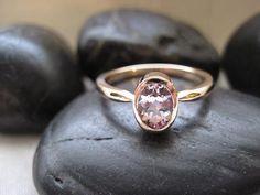 Natural Morganite Ring in 14K solid rose gold. $378.00, via Etsy.