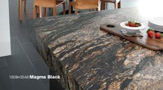Formica 180fx 3548 Magma Black adds a touch of drama to this kitchen island countertop