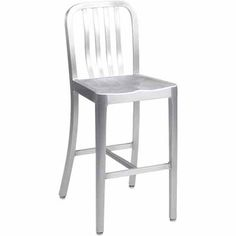 """Classic Aluminum Outdoor Bar Stool. Availability: Build to Order. Minimum order of 6. This aluminum outdoor bar stool is perfect for outdoor restaurant seating. Seat and back are all-weather brushed aluminum. Seat is contoured for comfort. Also available at 24"""" Counter Height. Dimensions: 42""""H x 19""""D x 16""""W"""