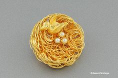 Vintage Bird Nest Brooch Gold Tone with Pearl by JessesVintage, $9.99