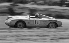 1957 SCRR, Riverside : Ricardo Rodriguez, Porsche 550 Rodriguez Team, Winner (w/Pedro). Ricardo had to get special permission for this race because he was only 15 years old. (ph: © Allen R. Porsche 550, Porsche Cars, Sports Car Racing, Race Cars, Ricardo Rodriguez, Courses, 15 Years, Competition, History