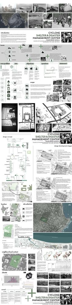 Cyclone Shelter and Disaster Management Center - Part 1. Sem VI A. Sheet composing and Rendering. Thesis Design: Dileep Reddy. Architecture design sheet