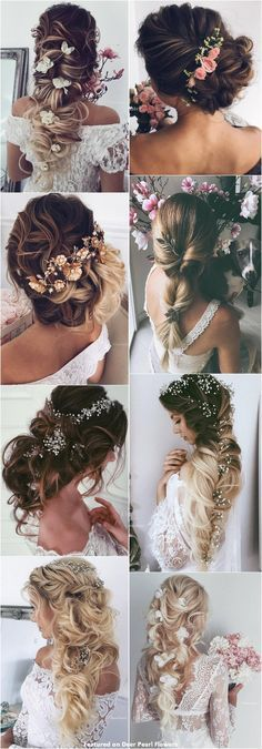 Best Ideas For Wedding Hairstyles : 65 New Romantic Long Bridal Wedding Hairstyles to Try / Ulyana Aster www. Formal Hairstyles, Cute Hairstyles, Wedding Hairstyles, Bridesmaid Hair, Prom Hair, Wedding Hair And Makeup, Hair Makeup, Wedding Hair Inspiration, Wedding Ideas