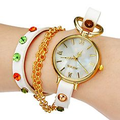 Women's White Dial White PU Band Analog Quartz Wrist Watch