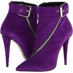 Giuseppe Zanotti purple suede bootie w/pointed toe, asymmetrical zip detail, and adjustable ankle strap with a buckle closure. Leather lining. Made in Italy. 4 1 ⁄ 4 in. heels