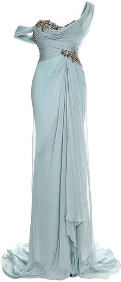 Embroidered One-Shoulder Chiffon Gown