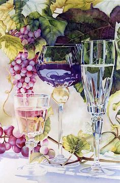 June Young Watercolor art - Glasses and Grapes