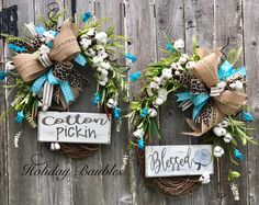 Cotton Pickin' Blessed  Double Front Doors by Holiday Baubles