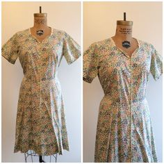 A personal favorite from my Etsy shop https://www.etsy.com/listing/268444047/1960s-does-1940s-zip-front-house-dress