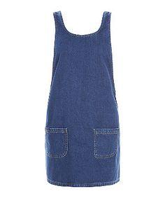 Blue Denim Double Pocket Pinafore Dress  | New Look